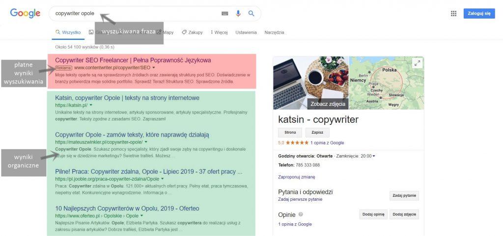 Jak pisać teksty SEO? Screen z wyszukiwarki organiczne i płatne wyniki wyszukiwania.