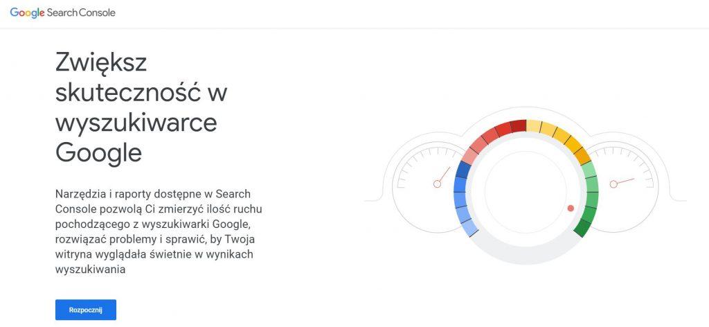 Screen Google Search Console - narzędzie doindeksowania strony.
